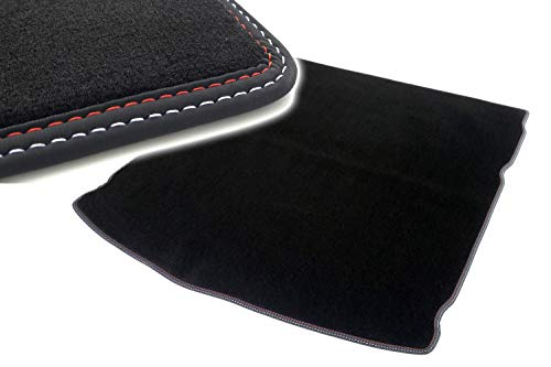 Kofferraummatte für A-Klasse W176 ab 09.12 Autoteppich Kofferrraum Tuning Velours schwarz Ziernaht rot/weiß