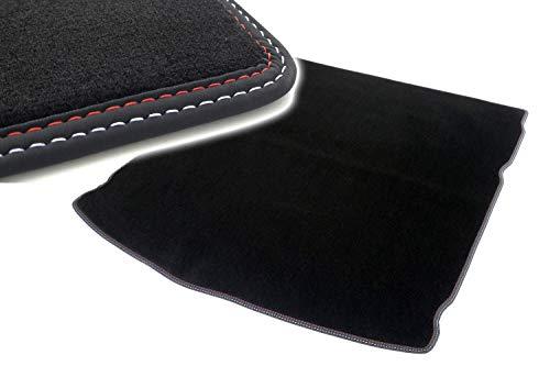 Kofferraummatte für 3er Reihe E46 Touring (ohne Navi) ab 04.98 Autoteppich Kofferrraum Tuning Velours schwarz Ziernaht rot/weiß