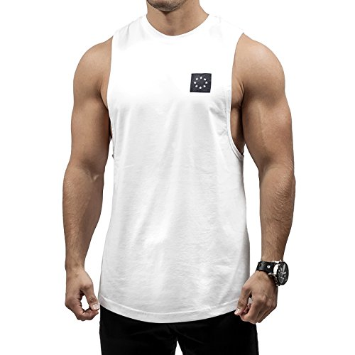 Hyperfusion Core Cut Off Tank Top Herren Shirt Gym Fitness (M, Weiß)
