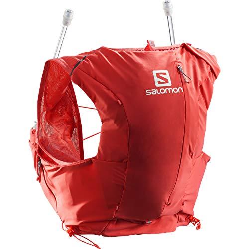 Salomon Womens Advanced Skin 8 Set Trail Running Vest Backpack, Cayenne/Porcelain Rose, Small