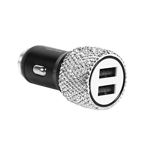 Lsmaa Cargador de Coche, 2 en 1 Dos Puertos USB de Seguridad Martillo Estilo Diamante Fiabilidad Constante Valor Actual y de Alta precisión, Compatible con los teléfonos Inteligentes Tabletas