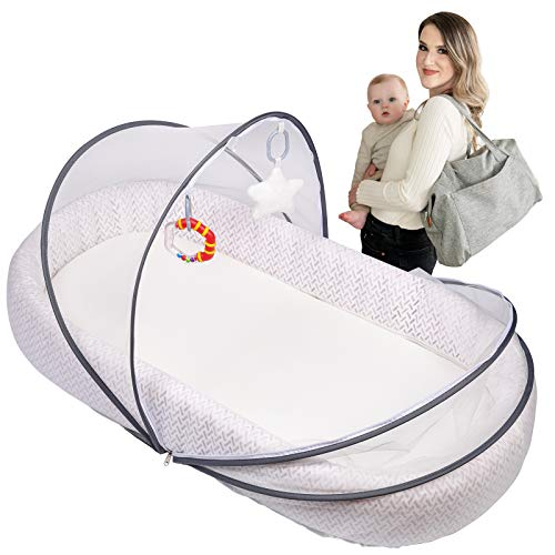 Lupantte Portable Baby Lounger Co-Sleeper, Breathable & Foldable Newborn Bassinet for Crib, Napping, Travel and Gift for Newborn