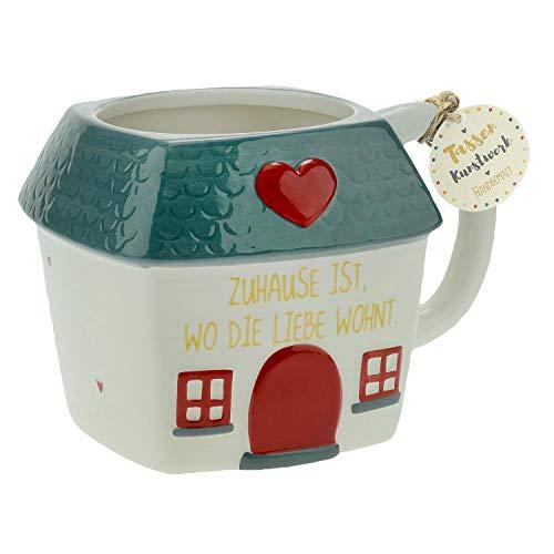 Die Geschenkewelt 46347 Figuren-Tasse Haus mit Spruch Zuhause ist wo die Liebe wohnt, Dolomite, 50 cl, Geschenk-Tasse