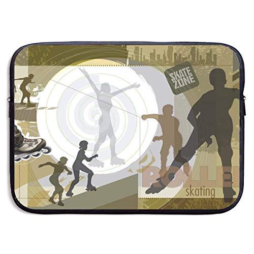 Funda Impermeable para portátil de 15 Pulgadas, maletín de Negocios de Patinaje sobre Ruedas Abstracto, Bolsa Protectora, Funda para Ordenador BAG-1932