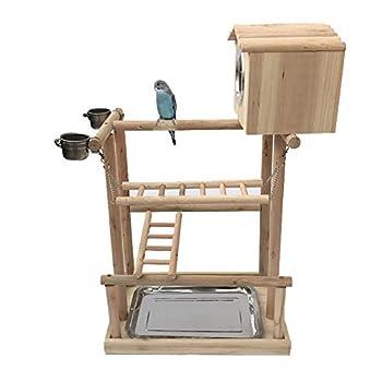 ZWW Pieds pour Cages À Oiseaux, Aire De Jeux De Perroquet en Bois Multicouche Clôture De Jeu Gymnase D'entraînement avec Échelle Maison Et Biberon
