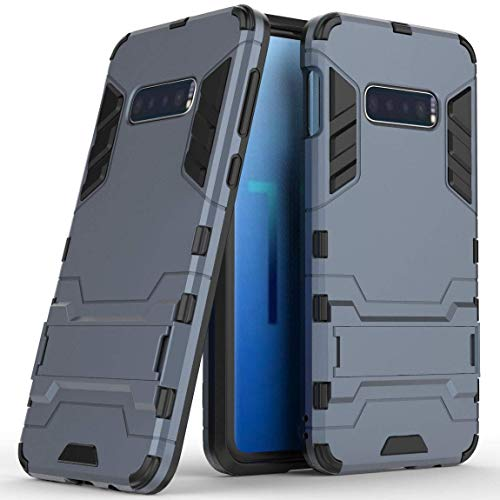 Hoesje voor Samsung Galaxy S10 (6,1 inch Scherm) 2 in 1 Hybrid Rugged Schokbestendige Back Cover met Kickstand Hoes (Blauw Zwart)