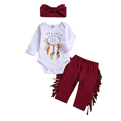 Mamum Nouveau-né bébé fille garçon lettre Dreamcatcher barboteuse + pantalon pompon ensemble de vêtements (100(12-18Mois))