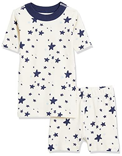 Moon & Back by Hanna Andersson Juego de Pijama Corto de 2 Piezas. Pajama-Sets, Estrella, Azul Marino, US 3T (EU 90)