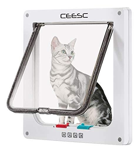 CEESC Puerta de gato grande para ventanas, puerta de gato con bloqueo de 4 vías para ventanas y puerta de cristal deslizante, puerta de solapa impermeable para gatos y...