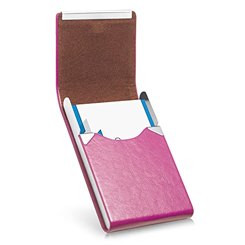 Business Card Holder, Luxury Microfiber Leather Business Card Case, Metal Card Holder Pocket, Slim Name Card Holder, Business Card Holder Wallet for Women & Men with Magnetic Shut (Rose red)