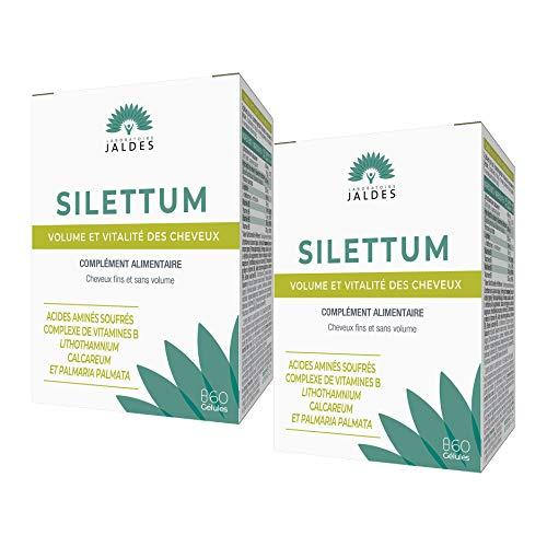 Jaldes - Silettum - Croissance Cheveux - Stimule la vigueur des cheveux - résistance et éclat - cheveux secs ou fragilisés - Boite de 60 Gelules - lot de 2 Boites