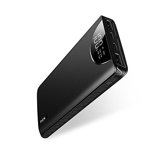 モバイルバッテリー 大容量 20000mah PZX 持ち運び充電器 USB Type C/Micro USB/Lightningポート 三台同時充電でき 急速充電 防災 緊急用 iPhone/iPad/Android各種対応 (ブラック)
