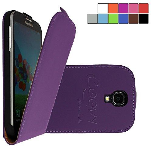 COOVY® Cover für Samsung Galaxy S4 GT-i9500 GT-i9505 GT-i9506 Slim Flip Case Tasche Etui inklusive gratis Displayschutzfolie | Farbe lila