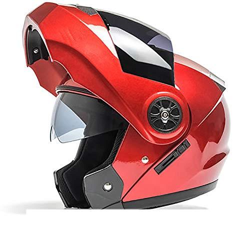 YXDDG Motorhelm, dual vizieren, volledige gezichtshelm, zwart, open helm met schild, opklapbaar, dual vizier zonneklep 54-60cm rood A
