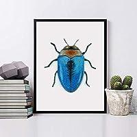 Insecto pared, Cuadro de pared enmarcado con madera natural, Impresión artística, impresión original, impresiones...