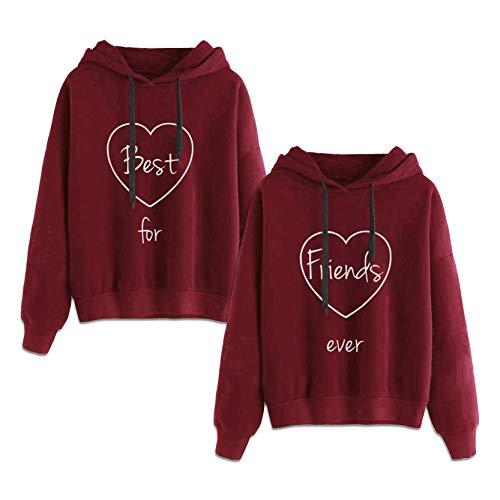 Matching Hoodies for Best Friends Girl BFF Jumper Sweatshirt 2 Pcs(red,Best-XS+Friends-XS)