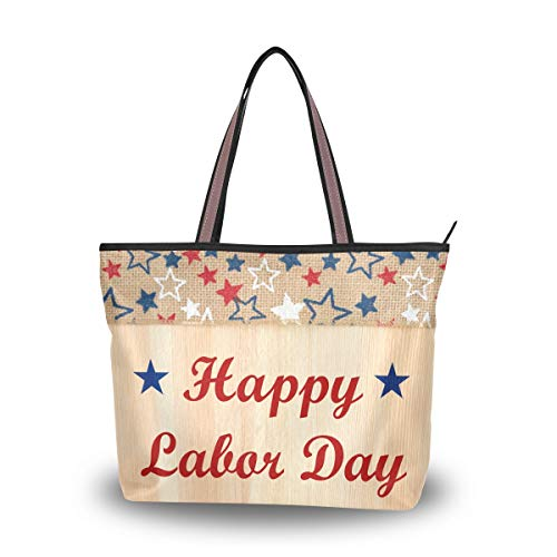 XiangHeFu Bolsos de mujer Bolso de hombro Happy Labor Day Polyester Fabric