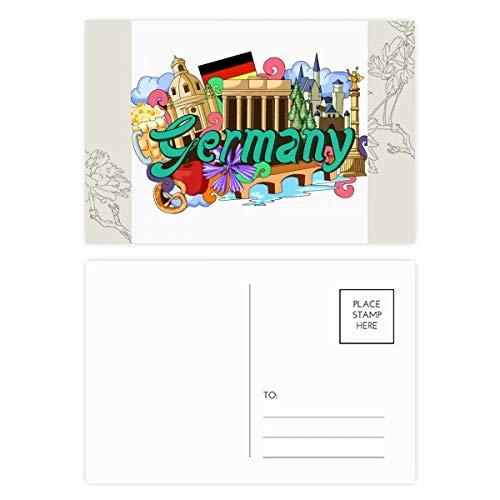 DIYthinker New Swan Stone Castle Bier Deutschland Graffiti-Blumen-Postkarte Set dankt Karte Mailing Side 20pcs 5.7 Zoll x 3.8 Zoll Mehrfarbig