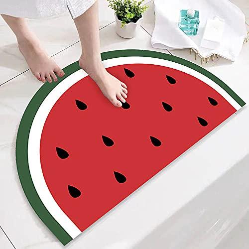 Meanos Alfombra absorbente para el suelo o el baño, antideslizante, diseño de sandía, 40 x 80 cm