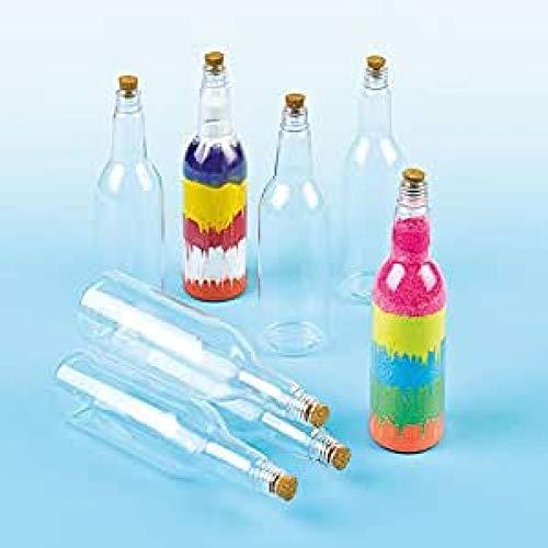 Baker Ross Botellas de plástico con tapón de corcho (Paquete de 4) Para pintar y decorar con niños