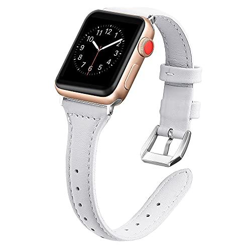 QINJIE Correa Compatible con Apple Watch 1/2/3/4/5/6 SE Correa de Reloj de Cuero Delgada Correa de Cuero Elegante para Mujer,I,38MM