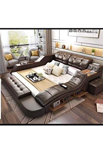 NIKO All in One Leather Double Bed Frame with Speakers and Storage Safe Perfect Relaxation King Size Light Brown