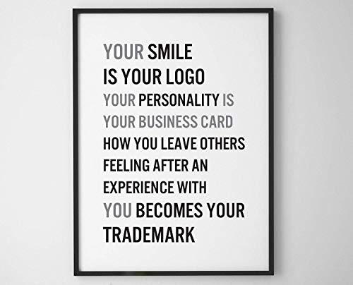 Wand Decor Digitale Print Uw glimlach is Uw Logo Uw Persoonlijkheid is Uw visitekaartje Printable Printerbare Citaat Typografie