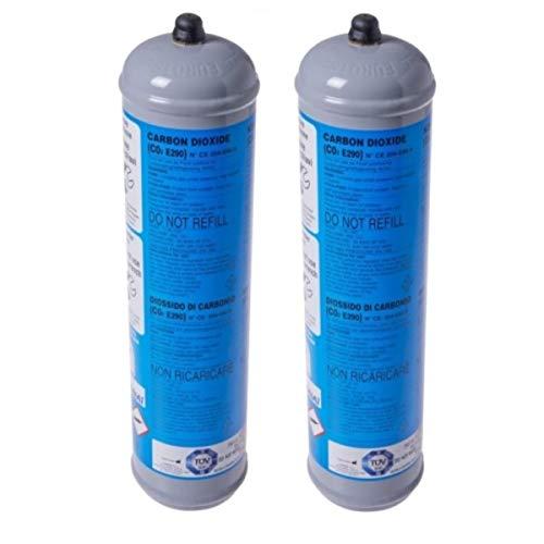 2 BOMBOLE CO2 USA E GETTA 600 Grammi E290 ALIMENTARE PER GASATORI ACQUA ATTACCO 11 x 1 DIMENSIONI.BOMBOLA DN 70 MM H 325 MM