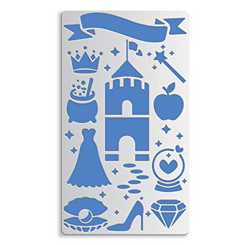 BENECREAT 17.5x10cm Fairy Tale Theme Metal Stencils, Castle, Crown, Diamond, High Heels Templates for Engraving, Furniture, Embroidery, Murals and DIY Craft