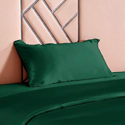 THXSILK 100% 19 Momme Seide Kissenbezug Kissenhülle mit Reißverschluss - Seide Kissen Bezug - Super Weich und Glatt Seide Kopfkissenbezug (40x80cm, Smaragdgrün)