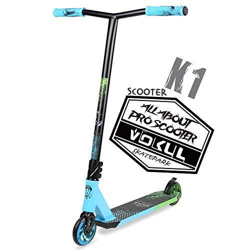 VOKUL Pro Scooter BZIT K1 Freestyle - Stuntscooter für 7 Jahre und älter - Kinder & Teens & Erwachsene, Stunt Scooter mit 110mm PU Räder Tricks Tretroller Geschenk (Blau)