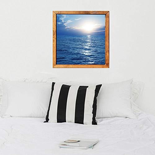 FHISDGN Sea sunrise fotolijst decoratief schilderij 3D, afmeting: 60 * 60CM