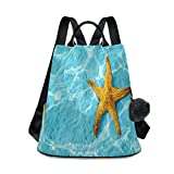 Starfish In Blue Water Backpack Purse Anti-Theft Bookbag Rucksack Bag for Women Business