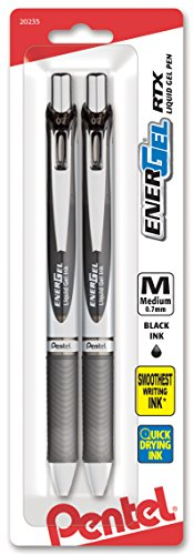 Pentel EnerGel Deluxe RTX Retractable Liquid Gel Pen 07mm Metal Tip Black Ink 2 Pack BL77BP2A