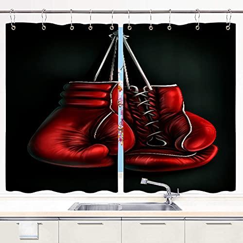 SDBUYW-ZQ Küchenvorhang ,Boxhandschuhe drucken, Küchendekorationen Fenstervorhänge, Fensterbehandlungsplatten-Sets Vorhänge Metallhaken enthalten 55 x 39 Zoll 2 Platten