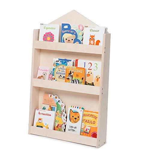 Dotty by moblì® | La librería montessoriana para niños | Estantes de 3 Alturas en Madera Natural | Colocación Frontal de los Libros | Ahorro de Espacio | Made in Italy (Madera Natural, Caseta)