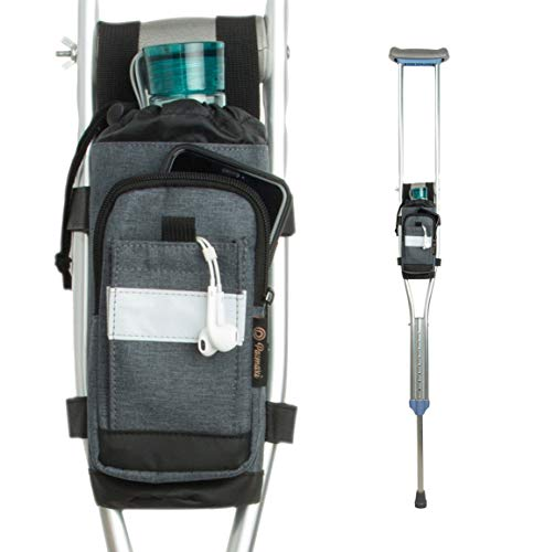 Crutch Bag Lightweight Crutch Accessories Storage Pouch with Reflective Strap and Front Zipper Pocket for Universal Crutch Bag to Keep Item Safety (Dark Gray)
