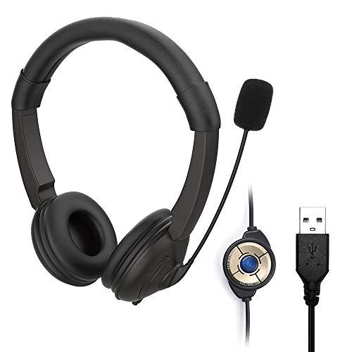 KLHY Stereo USB Headset mit Mikrofon für PC, Noise Cancelling Mikrofon und Lautstärkeregler, Stereo-Sound Laptop kopfhörer für Skype/Call Center/Büro/Telefonkonferenzen/Online-Kurse usw. – Schwarz