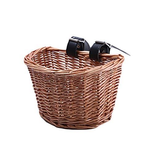Fablcrew Cestino della Bicicletta, Cestino di Bicicletta Tessuta Artificiale, con Cinghie in Pelle Finto Legno, Manubrio Anteriore per Cestino per Bicicletta di Vimini