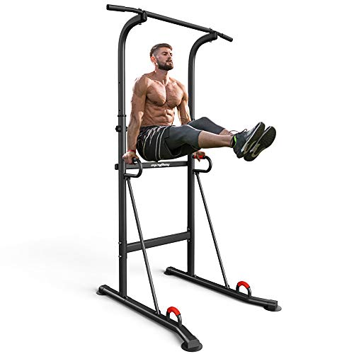 syzythoy Power Tower Height Adjustable Pull Up Bar & Dip Station Pull Up Station Fitness Strength Training Exercise Equipment for Home Gym 330LBS