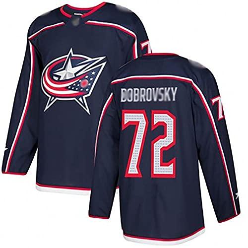 Camiseta de Hockey del Equipo Blue Jackets 71 NI 72 BObro Jersey Camiseta de Manga Larga Deportiva y de Ocio de Secado rápido y Transpirable L B