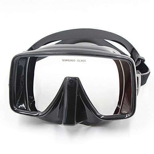 Traje de máscara Gafas de Buceo de Forma Cuadrada Duradera Unisex Fácil de Aliento Snorkeling Gafas con Cristal Templado Anti-Niebla Adecuado para Snorkeling (Color : Black, Size : One Size)