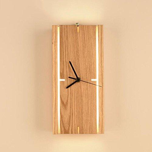 Lámparas de escritorio FHW Lámparas de Mesa de Madera Dormitorio Creativo con Reloj Lámparas de Mesa de decoración mesita de Noche silenciosas Lámparas de Pared de Silencio LED