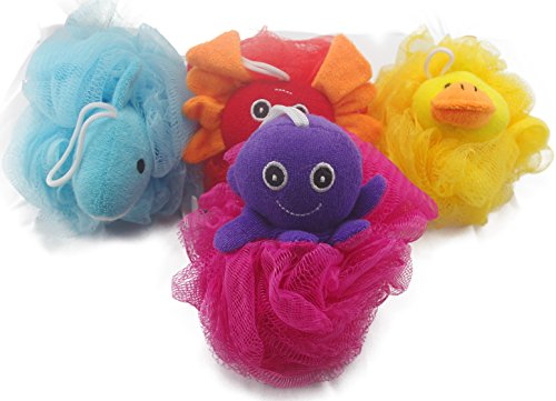 Loofah Exfoliating Shower Stuffed Sponge Pouf Mesh Brush With Animal Toys - Bath Spa Puff Scrubber Ball - Body poof Cleaner For Children Kids - Rich Foams Bubble4.7