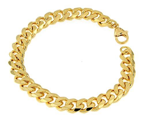 Panzerarmband 750er Gold Doublé 9 mm breit, 25 cm, Armband Herren-Armband Goldarmband Damen Geschenk Schmuck ab Fabrik Italien tendenze GGY9-25