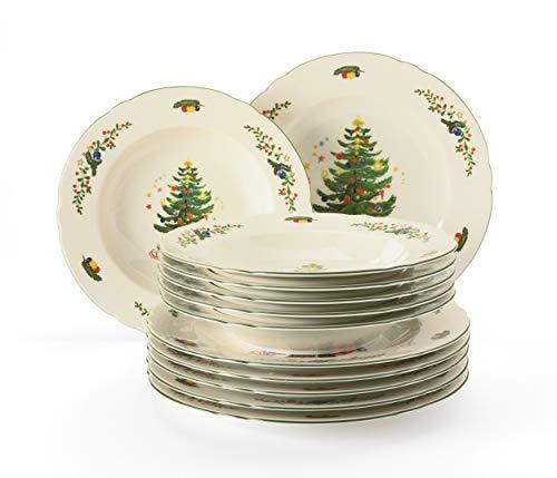 Seltmann Weiden Van Well - Servizio da tavola da 12 pezzi, per 6 persone, serie Marieluise, 6 piatti piani e 6 piatti fondi, in porcellana dura, verde/multicolore