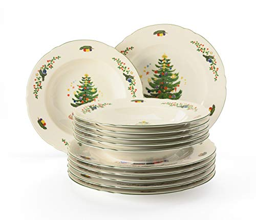 Seltmann Weiden - Servizio da tavola da 12 pezzi, per fino a 6 persone, serie Marieluise, 6 piatti piani e piatti fondi in porcellana dura, colore: Verde/Multicolore