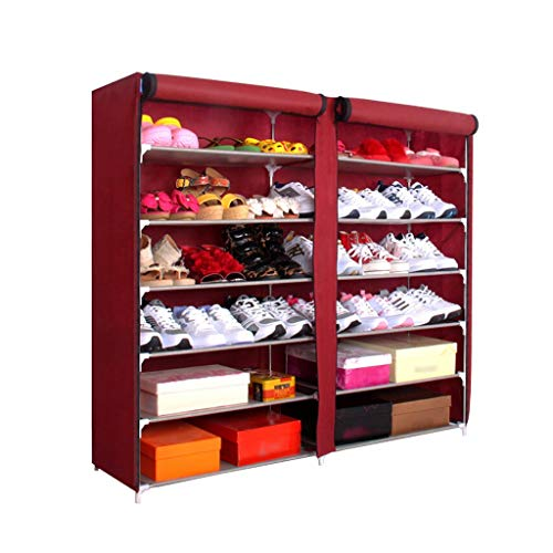 liushop Schuhregal 7-lagiges Schuhregal for 45 Paar Schuhe, selbstgebauter Non-Woven-Schuhregal, kein Werkzeug erforderlich Schuhständer Höhenverstellbar (Color : Red)
