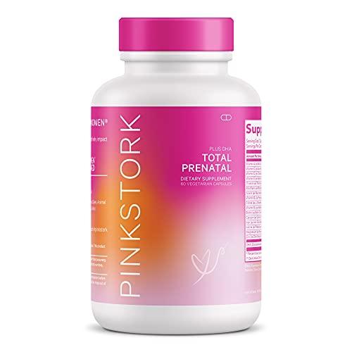 Pink Stork Total Prenatal Vitamins with DHA and Folic Acid: Doctor Formulated, Folate + Iron + Biotin + Vitamin D + Vitamin C + Zinc, Women-Owned, 60 Vegetarian Capsules