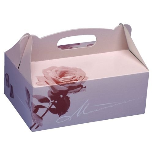 15 Gebäck-Kartons, Pappe eckig 26 cm x 22 cm x 9 cm rosé mit Tragegriff